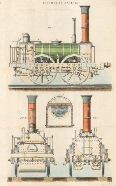 Four views from the internal workings to the finished train engine.