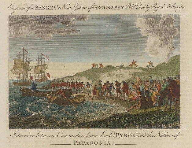 Patagonia. Commodore Lord Byron interviewing the natives, said to be twice the height of Europeans.