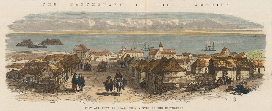 Islay, Peru: Panoramic view of the port and town devastated by the 1868 earthquake.
