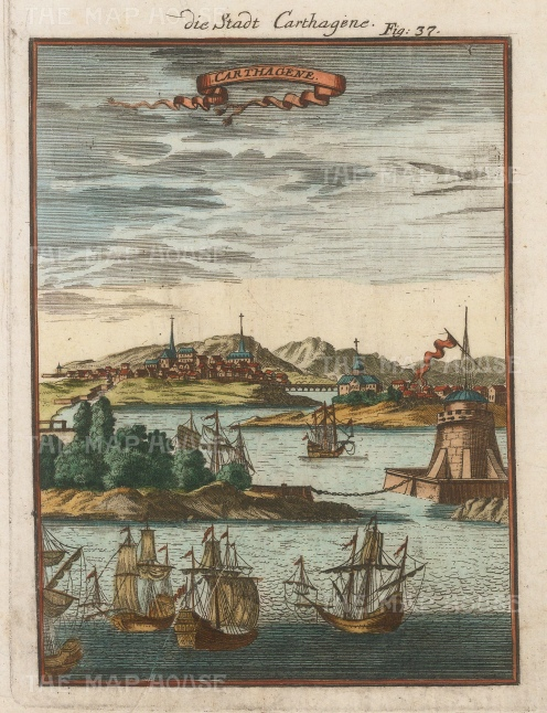 View of the port and town established in the early 16th century by the Spanish.