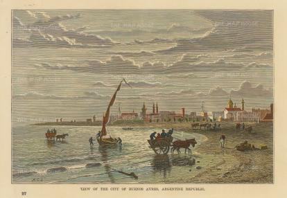 "Reclus: Buenos Ayres, Argentina. 1894. A hand coloured original antique wood engraving. 7"" x 5"". [SAMp1417]"