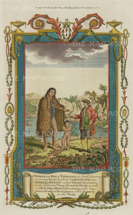 Patagonia: Native woman and boy receiving beads from Commodore John Byron.