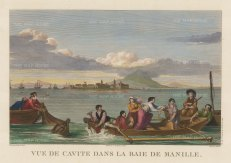 Manilla: View of a full boat in an inlet of the bay. After Gaspard Duchy de Vancy, artist on the La Perouse Expedition1785-9, which later disappeared without a trace.