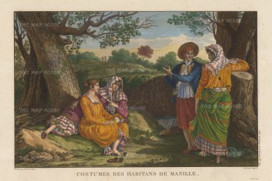 Manila: Costumes of the inhabitants after Gaspard Duchy de Vancy, artist on the La Perouse Expedition 1785-9, which later disappeared without a trace.