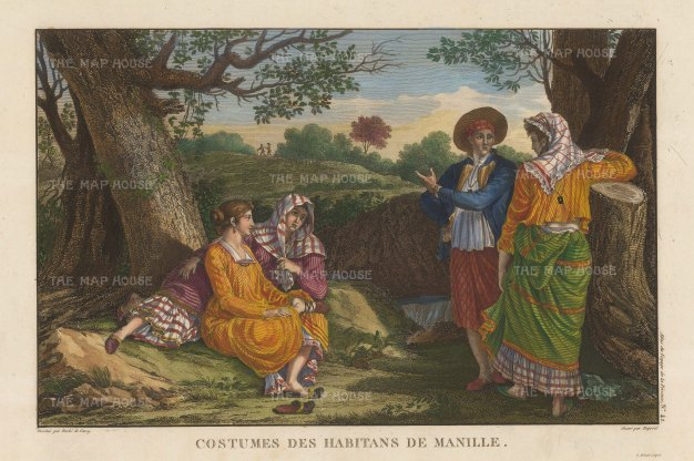 Manilla: Costumes of the inhabitants after Gaspard Duchy de Vancy, artist on the La Perouse Expedition 1785-9, which later disappeared without a trace.
