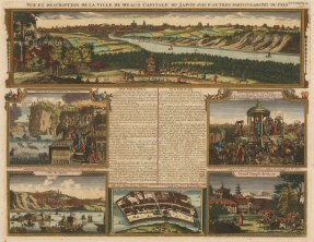 Meaco (Kyoto): Panorama of the city with views of Saccay (Osaka), the Dutch Fort at Nagasaki, the trials of Christians and a marriage ceremony with keys, and further text relating to the history of Meaco and Jeddo (Tokyo).