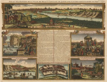 Meaco (Kyoto):Panorama of the city with views of Saccay (Osaka), the Dutch Fort at Nagasaki, the trials of Christians and a marriage ceremony with keys, and further text relating to the history of Meaco and Jeddo (Tokyo).