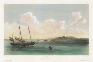 Malacca:View of Malacca City from the Straits. After Barthelemy Lauvergne,artist on the voyage of La Bonite 1836-7.