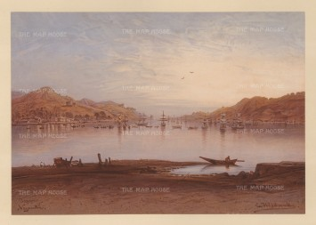 Nagasaki: View of the Bay. Drawn from life during Hildebrandt's 'round-the-world' voyage.