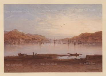 Nagasaki:View of the Bay.Drawn from life during Hildebrandt's 'round-the-world' voyage.
