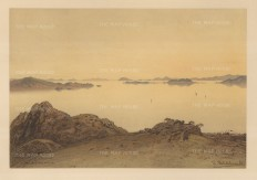 Mariana Islands: View of an inlet.Drawn from life during Hildebrandt's 'round-the-world' voyage.