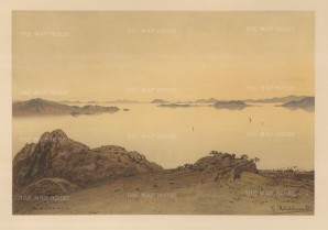 Mariana Islands: View of an inlet. Drawn from life during Hildebrandt's 'round-the-world' voyage.