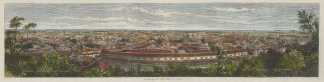 Jeddo (Tokyo): Panorama from Atago-yama showing the great residences of the daimyo, the powerful feudal landowners. Based on a photograph by Felice Beato.