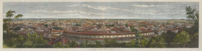 Jeddo (Tokyo):Panorama from Atago-yama showing the great residences of the daimyo, the powerful feudal landowners. Based on a photograph by Felice Beato.