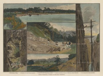 Pahang: Five views of the mining operations of the British Phang Corpration.