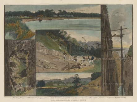 Pahang: Five views of the mining operations of the British Phang Corpration.