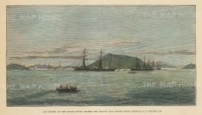 Jin Chuen on the Salee River: Panoramic view of island where was signed the Brtitish-Korean trade treaty.