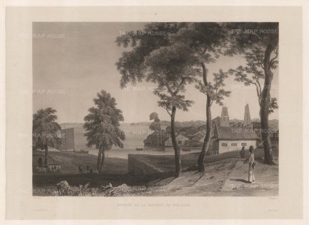Malacca: Entrance to the Malacca River. After Francoise-Emond Paris, artist on the voyage of La Favorite 1829-32.