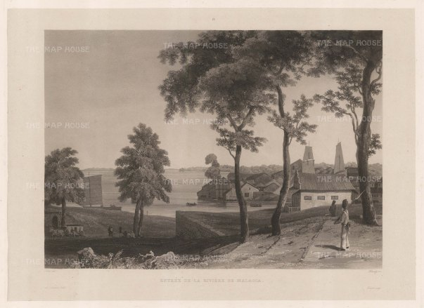Malacca: Entrance to the Malacca River.After Francoise-Emond Paris, artist on the voyage of La Favorite 1829-32.