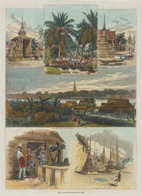 Wat Poh, Bankkok: Gateway in Wat Poh, Observatory Camp, View in Wat Poh, Meniam River, The Sideroslat Observatory and Tombs in Wat Chang.