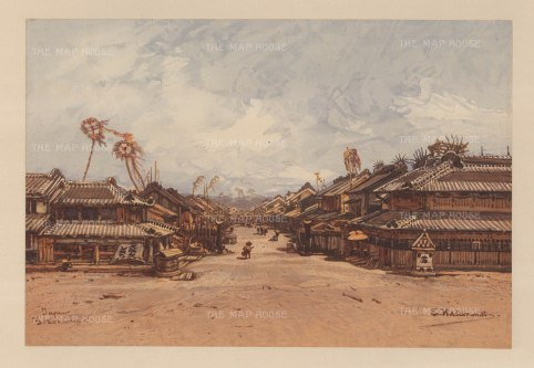 Yokohama: Street view in the port. Drawn from life during Hildebrandt's 'round-the-world' voyage.