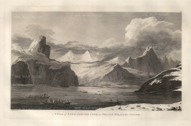 Prince William's Sound: A view of Snug Corner Cove with the Resolution and Discovery at anchor. After John Webber, artist on the Third Voyage.