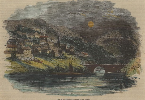 Houston: Early view of the city established in 1836.
