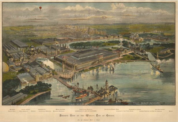 Chicago: Bird's eye view of the 1892 World's Fair.