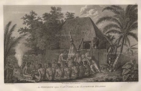Kealakekua Bay: An offering before Captain Cook as the incarnation of the god Lono. After John Webber, artist on the Third Voyage.