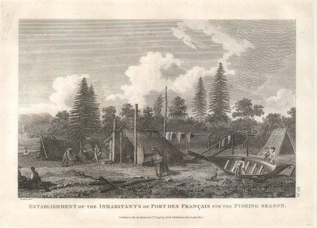 Port des Francais (Lituya Bay): View of the native encampment during fishing season.