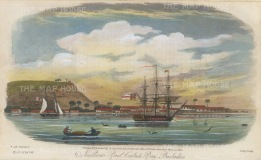 "Gold: Carlisle Bay, Barbados. 1817. A hand coloured original antique steel engraving. 9"" x 5"". [WINDp1141]"
