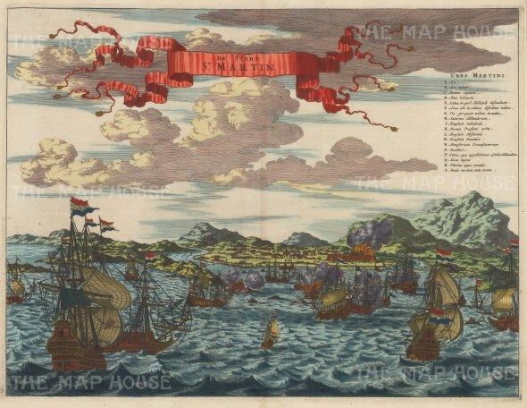 St. Martin's (Spanish Phillipsburg) under siege by Dutch Admiral Thytzoo. With battle key.