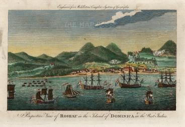 "Middleton: Roseau, Dominica. 1778. A hand coloured original antique copper engraving. 12"" x 7"". [WINDp1196]"