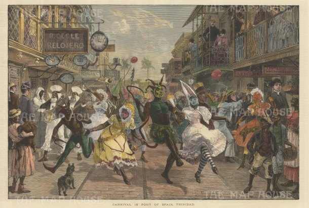 Port of Spain, Trinidad: Contemporary depiction of the carnival with the central figure of the devil. After renowned quick sketch artist and war correspondent Melton Prior.