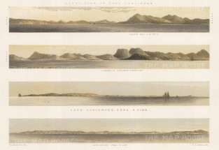 Panoramas of the north Cuban coast: Cape Corientes & Antonio, Organos Moutain & Saddle Hill.