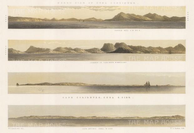 Panoramas of the north Cuban coast: Cape Corientes & Antonio, Organos Moutain & Saddle Hill.