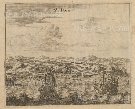 St. Iago (Santiago): View of the port with galleons on the approach.