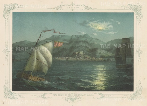 Cuba: Moonlit scene of Baracoa Bay at the foot of the Sagua-Baracoa mountain range. With decorative blue border. From the 2nd 'pirate' edition by Bernardo May.