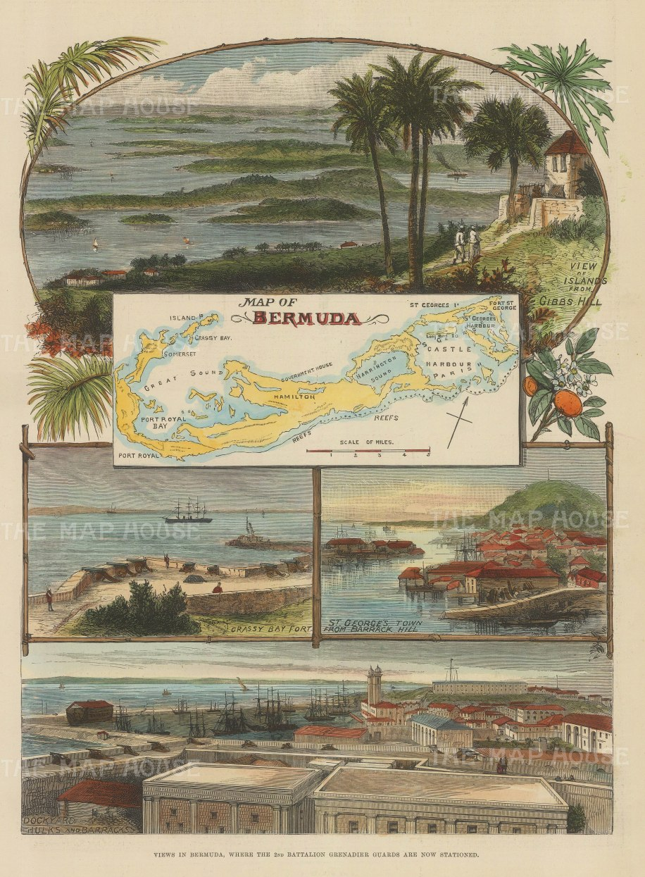 Bermuda: Map of the Island with views from Gibbs Hill, Grassy Bay Fort, Barrack Hill and the Dockyards.