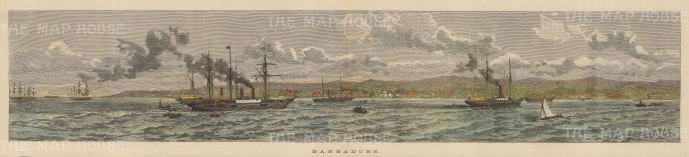 """Illustrated London News: Barbados. 1888. A hand coloured original antique wood engraving. 20"""" x 5"""". [WINDp985]"""