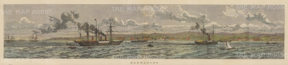 "Illustrated London News: Barbados. 1888. A hand coloured original antique wood engraving. 20"" x 5"". [WINDp985]"