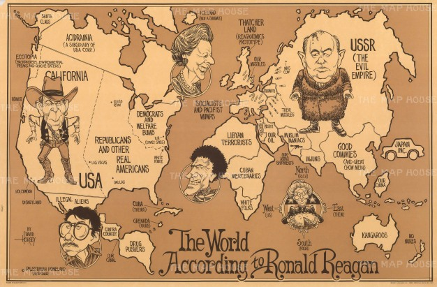 Humourous world map satirizing President Reagan's Cold War worldview in the late 1980s. Illustrated by David Horsey, now an internationally syndicated political cartoonist.