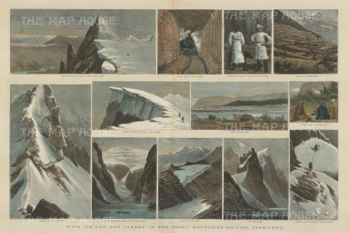 "Illustrated London News. Rocky Mountains. 1889. A hand coloured original antique wood engraving. 21"" x 14"". [CANp464]"