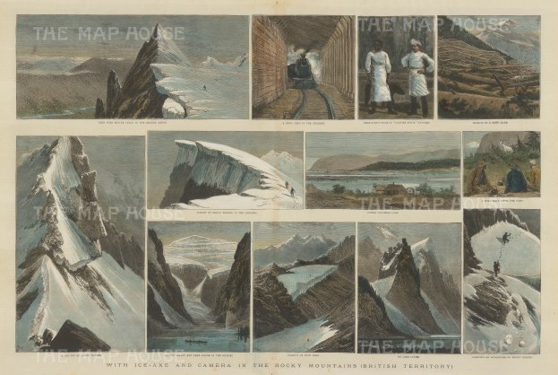 """Illustrated London News. Rocky Mountains. 1889. A hand coloured original antique wood engraving. 21"""" x 14"""". [CANp464]"""