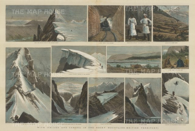 """Illustrated London News. Rocky Mountains. 1889. A hand coloured original antique wood engraving. 20 x 14"""". [CANp464]"""