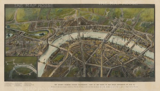 Bird's Eye View of the Thames. With key to the route of the Queen's Diamond Jubilee Procession.