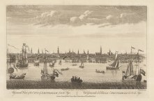 Panorama from the bay of the Tye (Ye): The IJ waterfront looking towards the Wester kirsch and central Amsterdam.