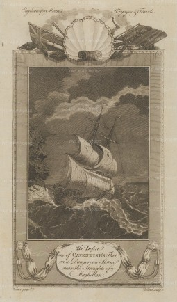 Straits of Magellan: HMS Desire and Cavendish in a storm.