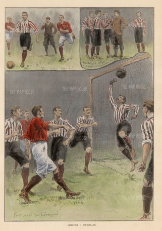"ISDN: Liverpool vs Sunderland. 1896. A hand coloured original antique wood engraving. 10"" x 14"". [SPORTSp3431]"