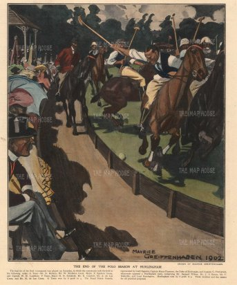 Hurlingham: The end of the polo season. Royal Horse Guards vs Hurlingham by the influential illustrator Maurice Geiffenhagen, RA.
